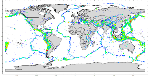 Map of world earthquakes magnitude 5 or greater
